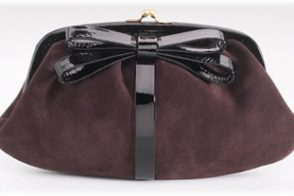 Moschino Bow Trim Suede Clutch