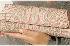 Jalda Pink Croc Clutch