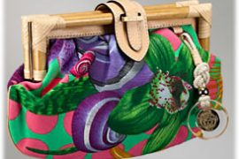 Versace Orchid and Shell Print Clutch