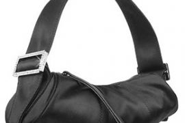 Tod's Bamboo Black Satin Mini Evening Barrel Bag