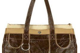 Nicoli Pocket Dark Brown Distressed Leather and Canvas Satchel