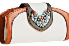 Giuseppe Zanotti White Canvas Jeweled Clutch