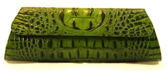 Jalda Crocodile Embossed Leather Clutch