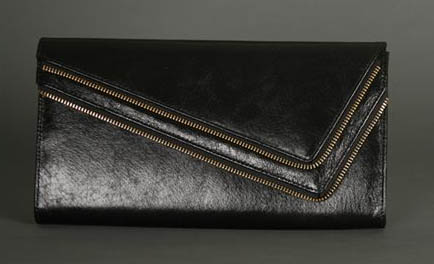 Glam Noir Leather Zip Clutch