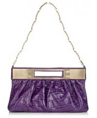 Versace Croc-Stamped Clutch in purple