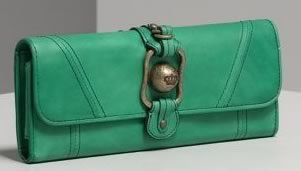 Juicy Couture Crown Button Elongated Clutch Wallet