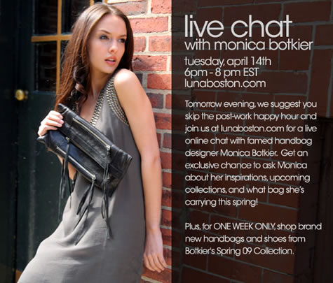 Live Chat with Monica Botkier at Luna Boston