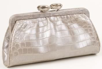 Darby Scott Matte Mercury Alligator Mini Evening Clutch