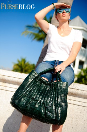 Nancy Gonzalez Green Croc Tote