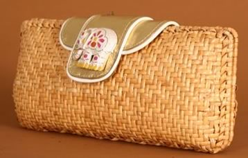 Rafe Carrie Rattan Clutch
