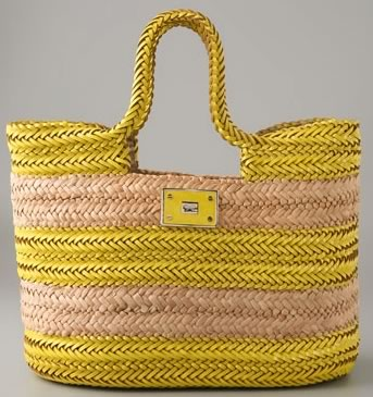 Anya Hindmarch Halen Straw Tote with Tumbled Patent