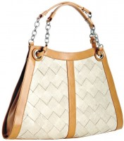 BCBGMAXAZRIA Bisque Leather Basketweave Detail Tote