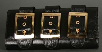 Glam Noir Leather Buckle Clutch