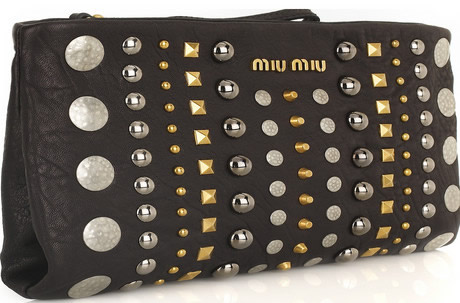 Miu Miu Studded Leather Clutch