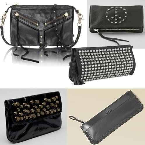 b12e24374ced Infuse a little rock glam into your look with a studded clutch handbag.  This trend combines black leather of various textures with stud details for  added ...