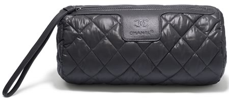 Chanel Grey Quilted Large Nylon Toiletry Case