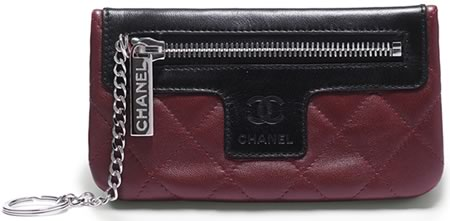 Chanel Red Quilted Lambskin Key Case