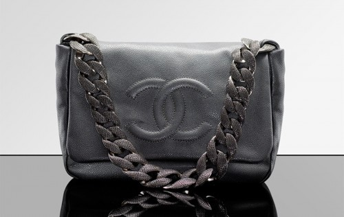 Chanel Iridescent Grained Calfskin Bag with engraved chain