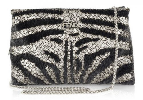 Fendi Sequin and Calf Hair Shoulder Bag