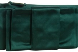 Valentino Green Satin Bow Front Zip Clutch