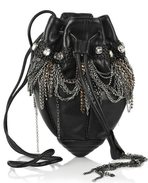 Donna-Karan-Jewelry-Chandelier-Leather-Pouch-Bag