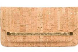 Kara Ross Mia Lizard-Trimmed Cork Clutch