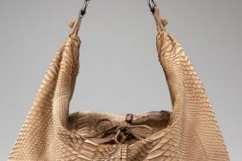Carlos Falchi Sueded-Python Slouch Hobo