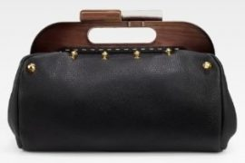 Fendi Wood-Frame Leather Clutch