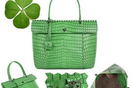 Green for St. Patrick's Day: Bottega Veneta Cocolave Crocodile Tote