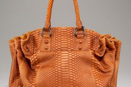 The Carlos Falchi Gathered Python Pouf Satchel is super luxe