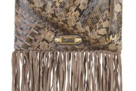 Jimmy Choo Tita Snakeskin and Suede-Fringe Clutch