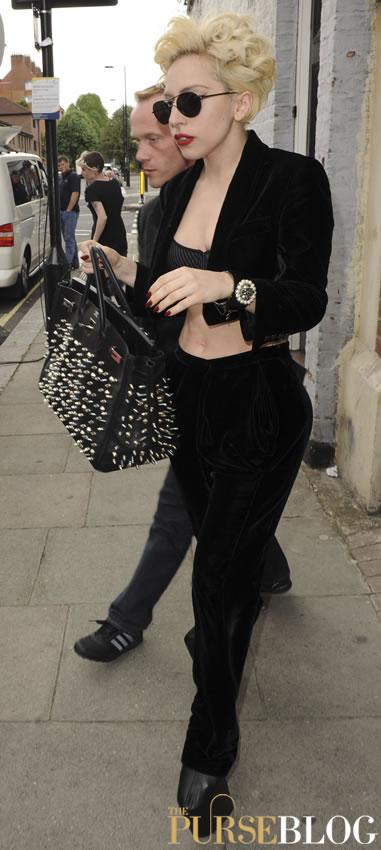 45c08031a71 Lady Gaga Implements the Stud Trend on her Hermes Birkin - PurseBlog