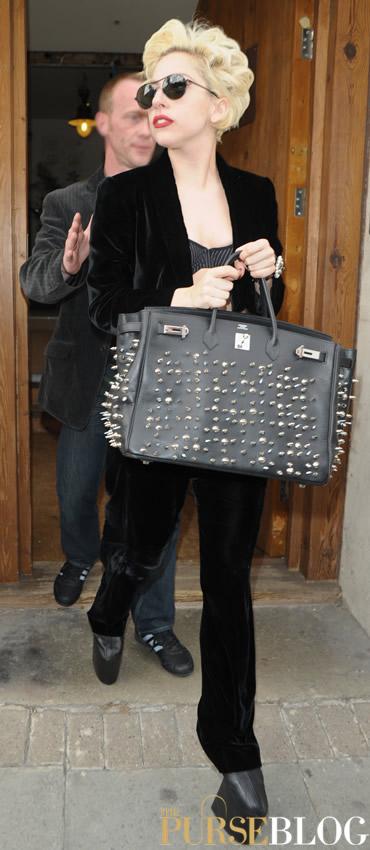 0d816dce4f24 Lady Gaga Implements the Stud Trend on her Hermes Birkin - PurseBlog