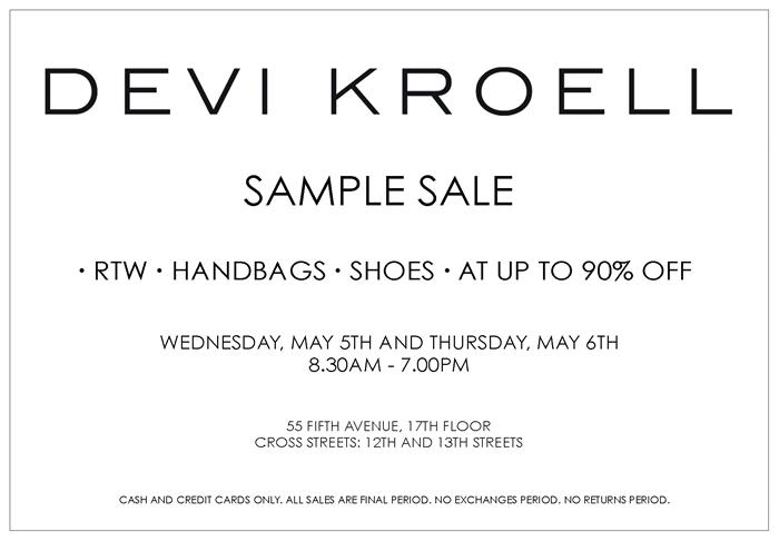 Devi kroell press sample sale, new york, october 2017.