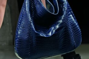 Bottega Veneta China Soft Crocodile Fume Loop Bag