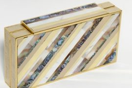 Three's a trend: Judith Leiber debuts striped mother of pearl