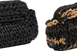 I'm in love with Prada's knitted leather clutches