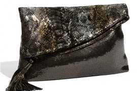 Whiting & Davis mixes its traditional metal mesh with metallic leather