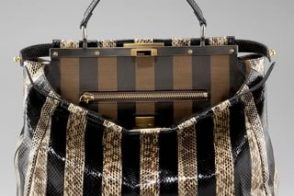 Fendi adds stripes to their Snakeskin Peek-A-Boo Tote