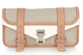 Proenza Schouler's Linen and Leather PS1 Clutch is breezy like a spring day