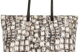 The Lanvin Diamond-Print Canvas Tote sparkles