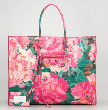 The 5 best floral print bags for spring purseblog balenciaga floral papier leather tote 1725 via neiman marcus mightylinksfo