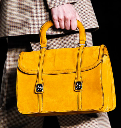 Mustard Yellow Is My Favorite Fall Bright And This Suede Miu Bag Gets Both Shade Shape Just Right The Collection Had A Few Misses But Design