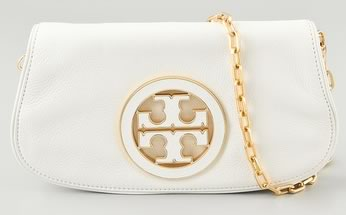 ca7274c9212 Tory Burch Logo Clutch white - PurseBlog