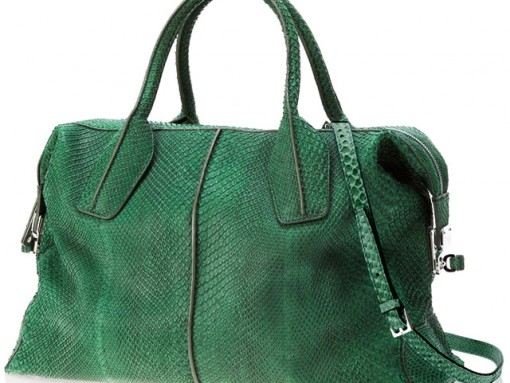Tods D-Styling Medium Bag in green python