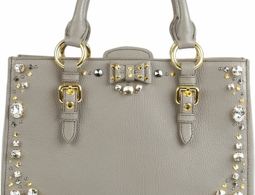 Miu Miu Crystal-Embellished Studded Leather Tote