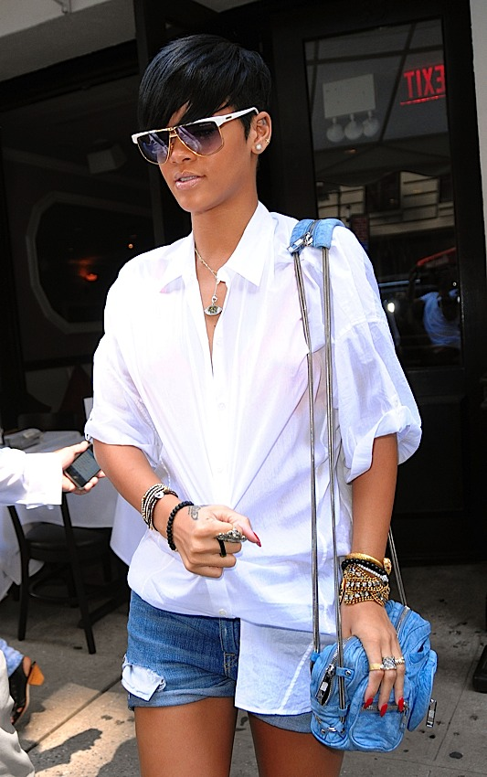 02d4dfadd61 Alexander Wang fits well with Rihanna s personal style in general - here  she is carrying a denim version of the Alexander Wang Brenda Shoulder Bag.