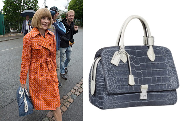 Anna Wintour with the Louis Vuitton Crocodile Old Flap Speedy in blue (3)