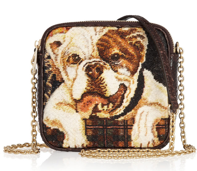 Dolce & Gabbana Bulldog Tapestry and Python Bag