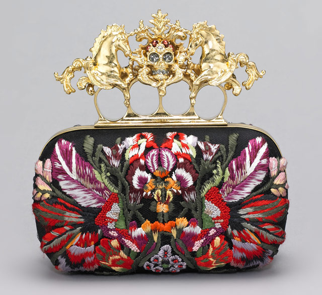 Alexander McQueen Embroidered Unicorn and Skull Clutch